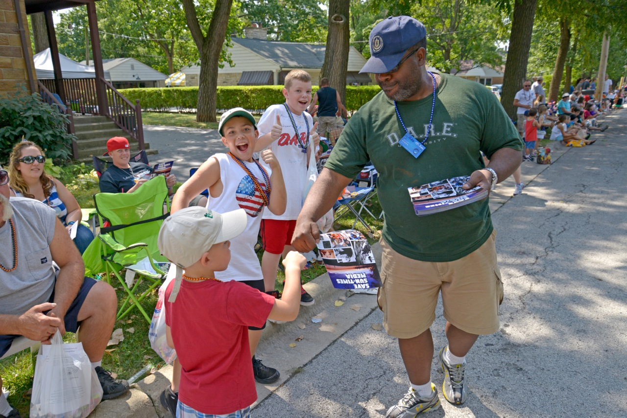 Dave Pollard leaflets at the Frankfort Labor Day Parade.