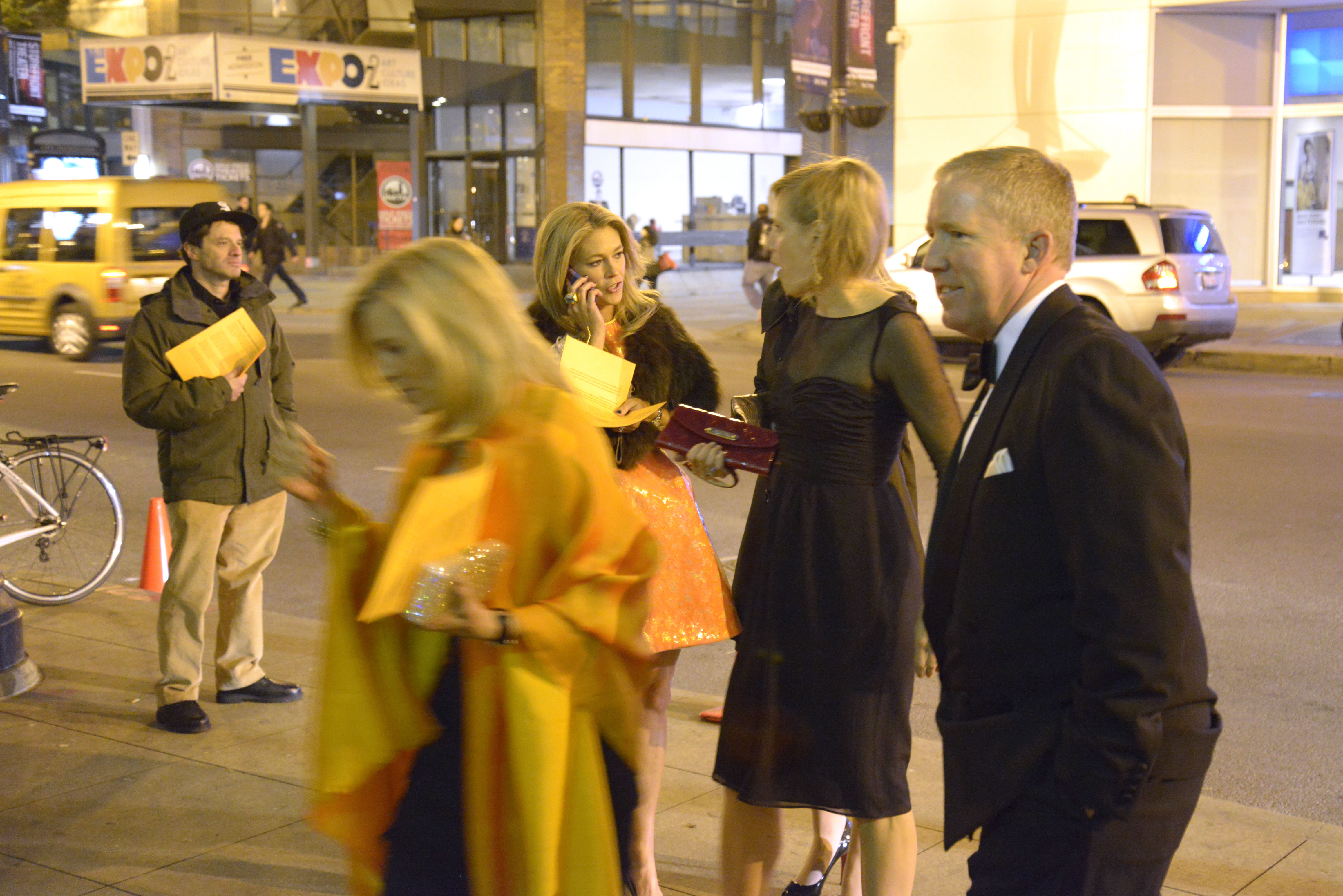 Chicago Newspaper Guild Executive Director Craig Rosenbaum leaflets at the Halloween ball.